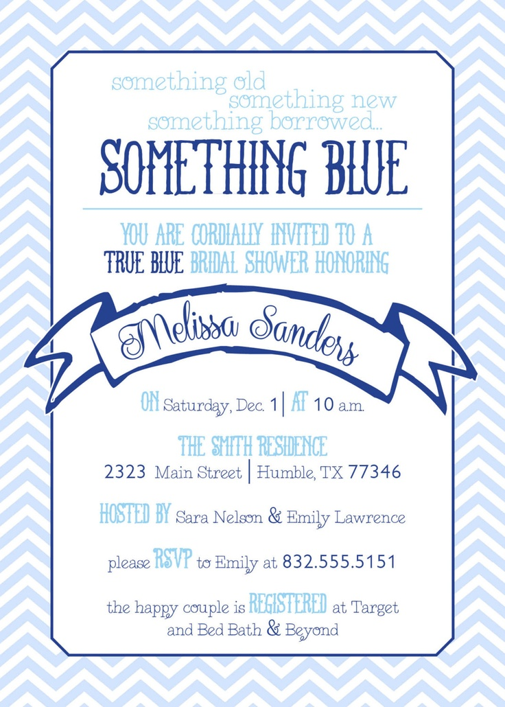 Chevron Something Blue Bridal Shower Invitation