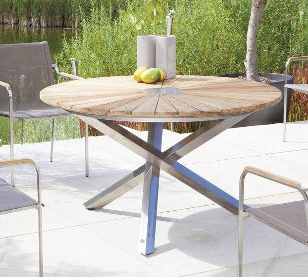Runder Gartentisch Old Teak Tischplatte Edelstahl Tischgestell