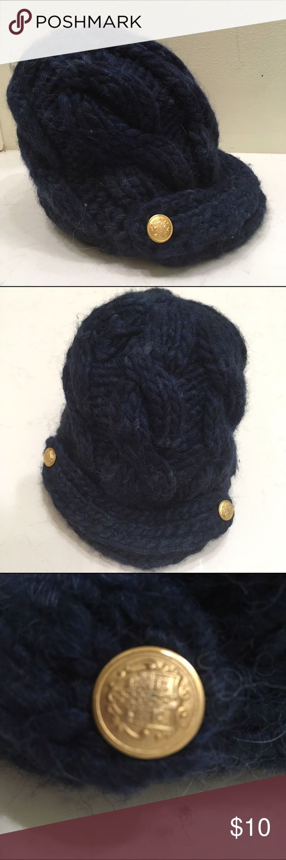 NAVY CABLE KNIT HAT. SMALL FORWARD BRIM. X SMALL. XS TIGHT FITTING ADULT HAT OR KIDS HAT. SMALL FORWARD BRIM WITH GOLD BUTTONS. CHUNKY CABLE KNIT DESIGN. NAVY. PREVIOUSLY OWNED. Accessories Hats