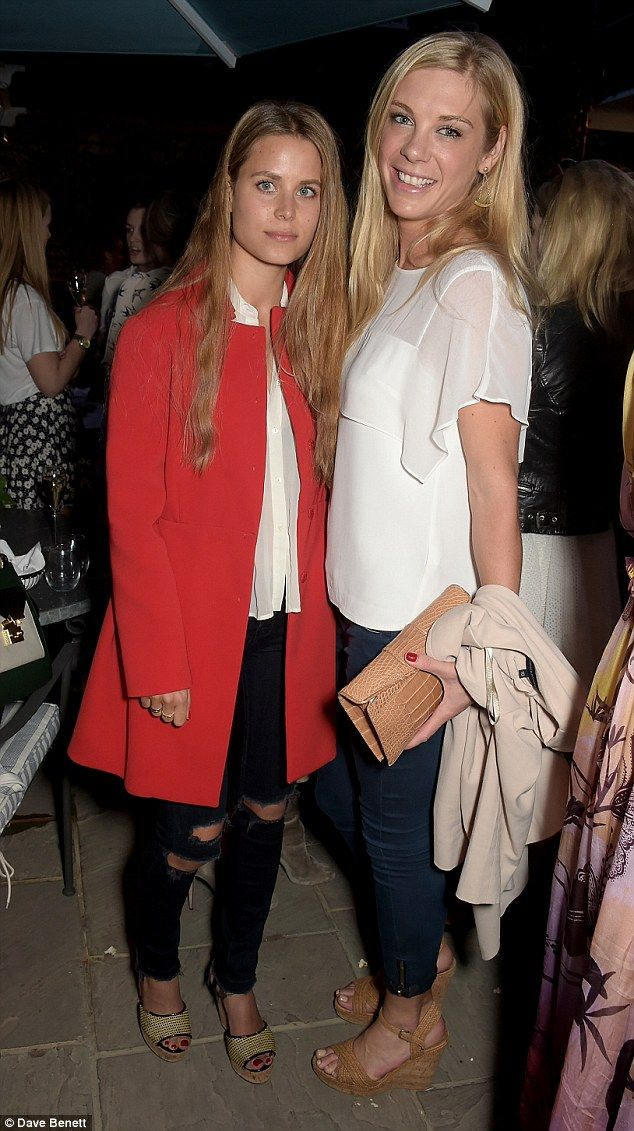 Chelsy Davy (pictured right) stepped out in a sophisticated summer outfit for the launch p...