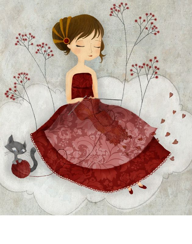 Knitting illustration by Eva Carot.