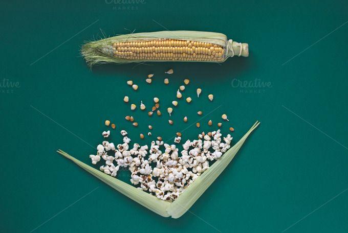 Corn transformation. Table top view. by kawizen  on @creativemarket #corncob #corn #sweetcorn #popcorn #pop #heat #process #processing #yellow #green #field #symbol #symbolic #healthy #salt #crop #agriculture #farm #vegetarian #grain #vegetable #harvest #snack #cultivation #grown #veggie #healthyfood #poppingcorn #corngrain #tabletop #tabletopview #topview