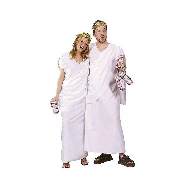 Adult Couples' Toga Costumes Set of  Osfm, White (940 INR) ❤ liked on Polyvore featuring costumes, halloween, white, party costumes, white costume, toga costume, party halloween costumes and toga party costume