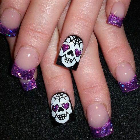The 25 best sugar skull nails ideas on pinterest skull nail sugar skulls by oli123 from nail art gallery prinsesfo Choice Image