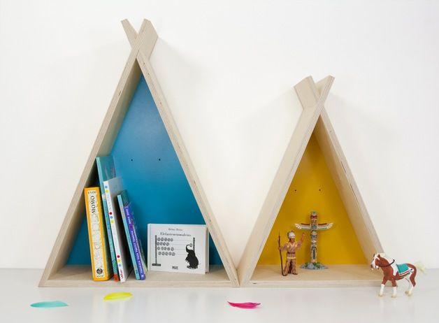 Tipi Tipi...yeah!  Beim Anblick dieser tollen Tipis schlägt jedes Indianerherz höher! Die Wandregale sehen im Kinderzimmer nicht nur bestückt mit Büchern und Accessoires gut aus, sondern dienen...