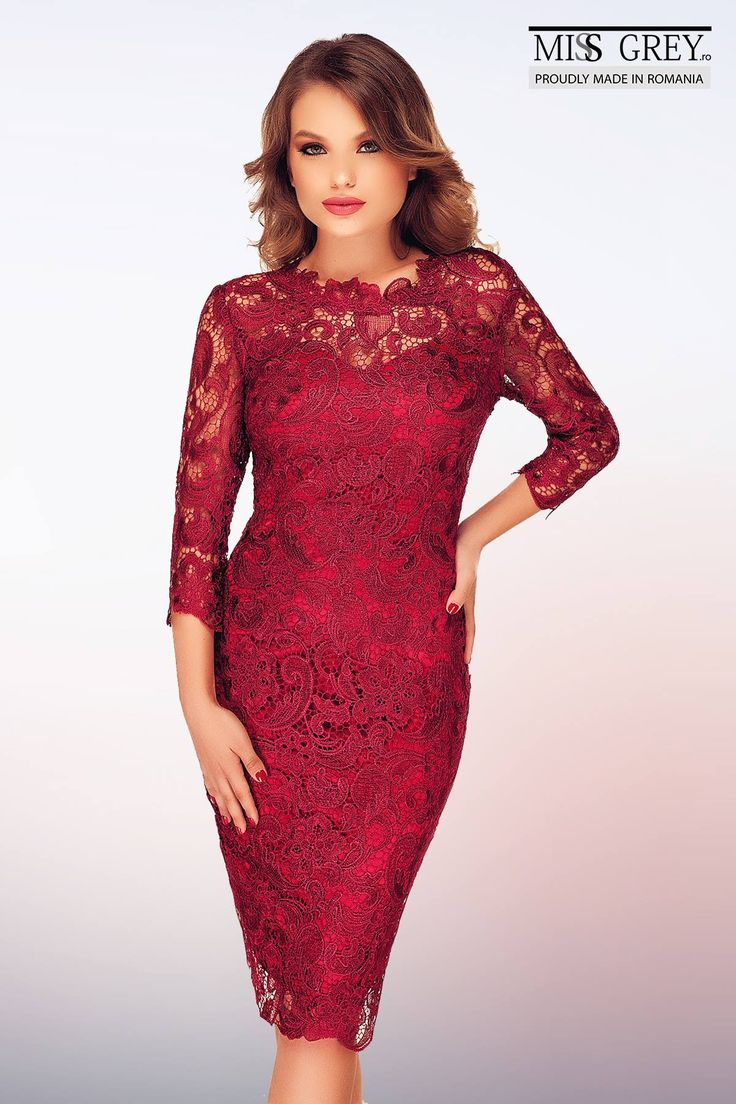 Charming and elegant, the claret lace Noelle dress will make you shine in any occasion.