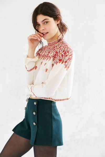 Ecote Simona Embroidered High-Neck Blouse - Urban Outfitters