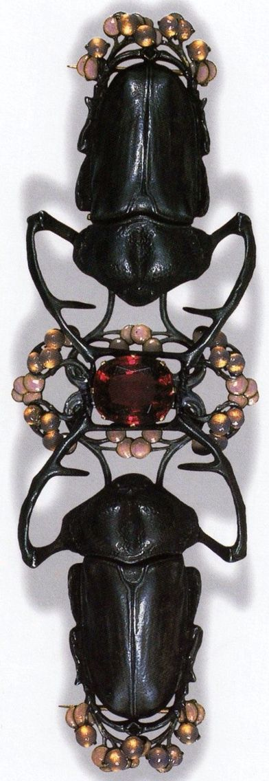 Antique Stag Beetle Corsage Ornament by René Lalique c1903.