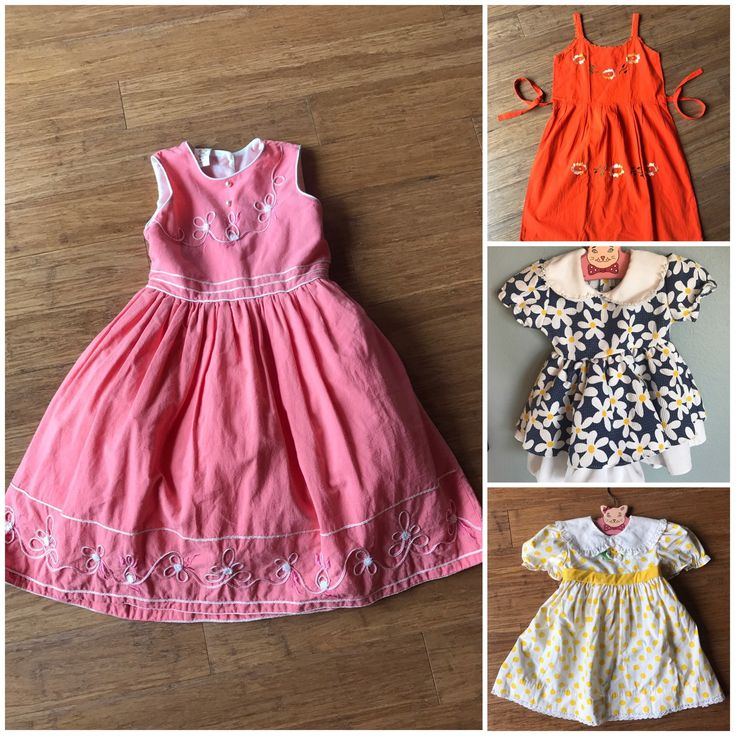 All of these precious #vintage #dresses are now available in my #etsy #shop two big girl dresses and two smaller head over!! See coupons and free shipping