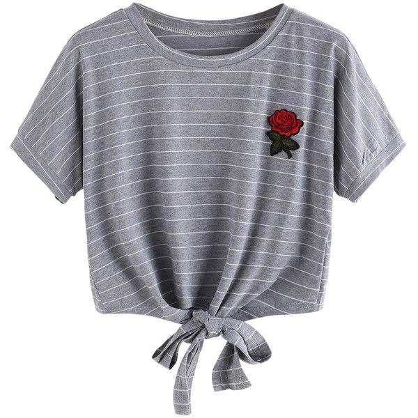 Gray Stripe Embroidery Rose Tie Front Short Sleeve T-shirt ($19) ❤ liked on Polyvore featuring tops, t-shirts, gray tees, rose t shirt, grey tee, stripe tee and striped tee