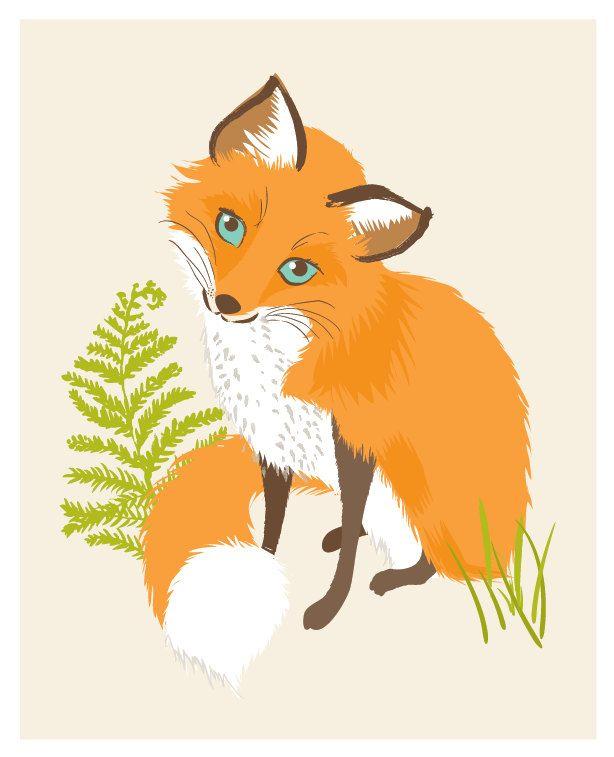 fox vixen - woodland art print 8x10. $15.00, via Etsy.