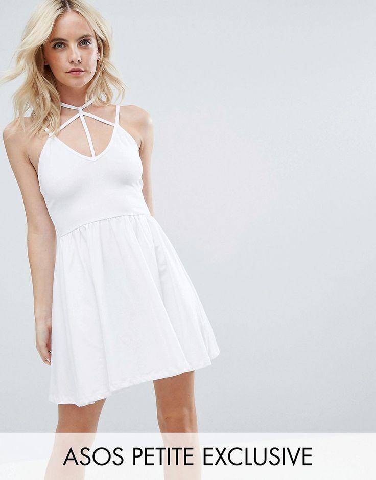ASOS PETITE Caged Mini Skater Dress - White
