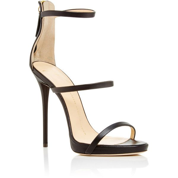 Giuseppe Zanotti     Black Leather Triple Strapped Coline Sandals (1,110 CAD) ❤ liked on Polyvore featuring shoes, sandals, heels, giuseppe zanotti, black, heeled sandals, kohl shoes, black shoes, thin strap sandals and giuseppe zanotti shoes