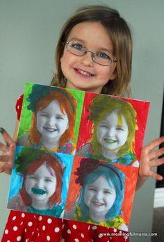 Selbstporträts im Andy Warhol Stil. Einfach viermal dasselbe S/W-Foto ausdrucken und mit Filzstiften anmalen.