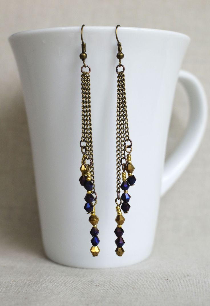 Longues boucles d'oreille avec perles cristal or et bleu au style rétro bohème : Boucles d'oreille par bohemiasroad