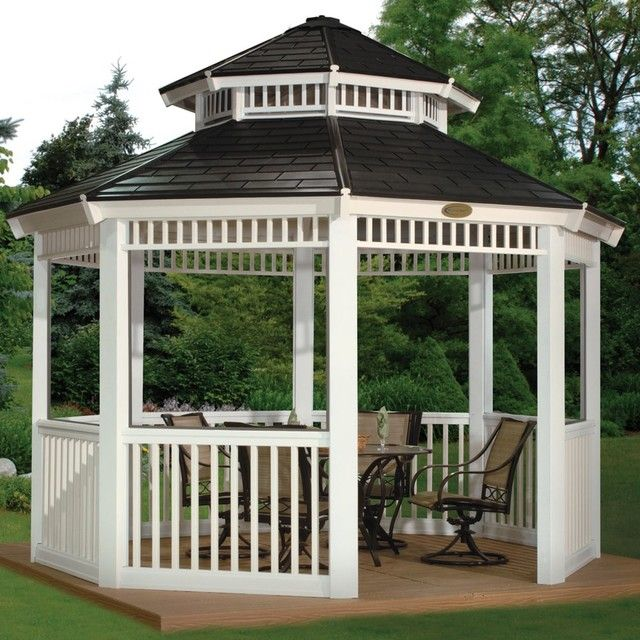 Exterior ~ A Modern Round Gazebo Kits Design With Wooden Frame And ..