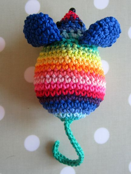 Rainbow stripe crochet mouse