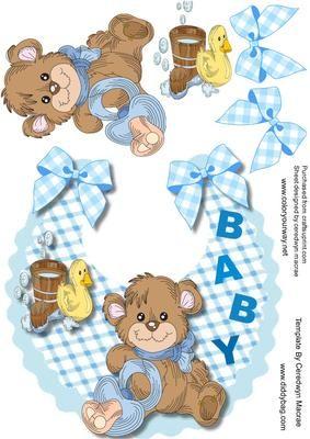 Lovely baby Boy Bib with Brown Bear  on Craftsuprint - Add To Basket!
