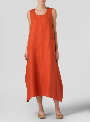 Rust Red Linen Sleeveless Long Dress