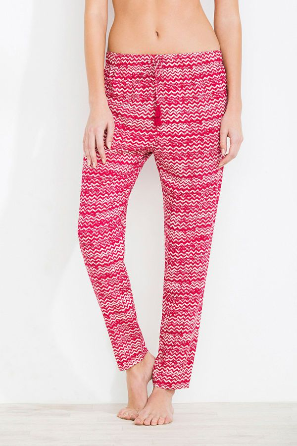 Long patterned trousers, pink, hi-res