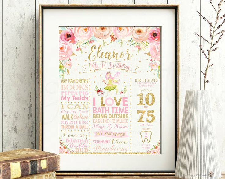 Fairy 1st Birthday Milestones Sign, Girl, Personalized, Printable, Stats, First, One Year, Poster, Nursery Wall Decoration, Floral, Gold by TheHappyCatStudio on Etsy