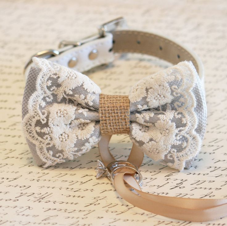 #Gray Dog Bow Tie, #Lace and #Burlap, #Dog #ring #bearer, #Vintage #wedding, #Rustic, #Bohemian, #Proposal idea