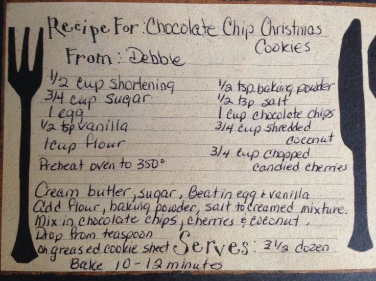 recipe for Chocolate Chip  Christmas Cookies