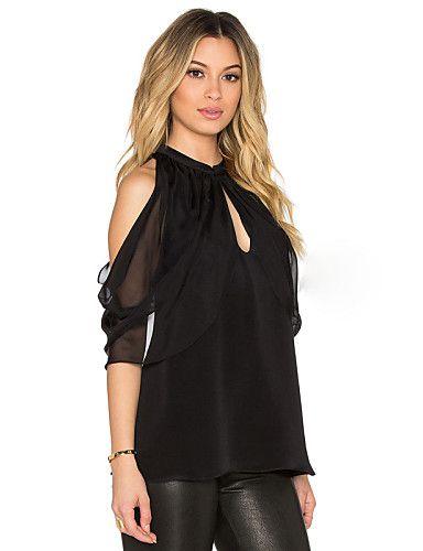 Women's Solid Black Blouse,Round Neck Short Sleeve 4894828 2017 – $15.99