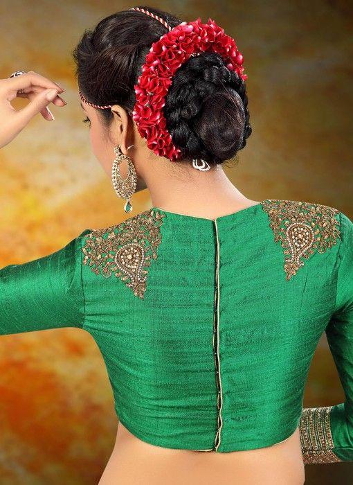 Green Stylish Designer Raw Silk Readymade Blouse
