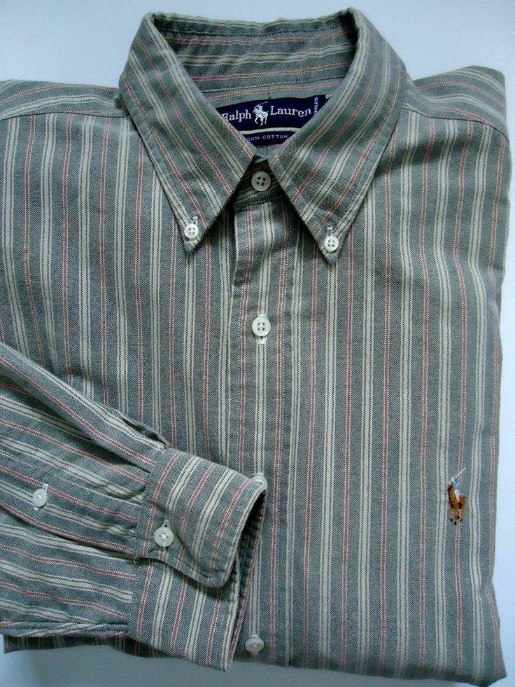 Ralph lauren mens striped cotton button down dress shirt for Heavy button down shirts