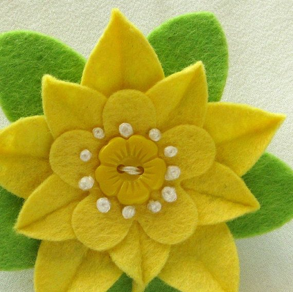 Butter Yellow Felt Flower Pin with Vintage Yellow Flower Button