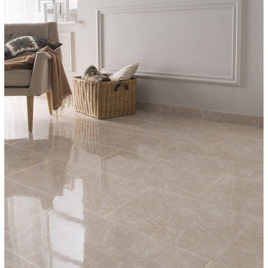 Carrelage sol et mur beige effet marbre Olympie l.30 x L.60 cm