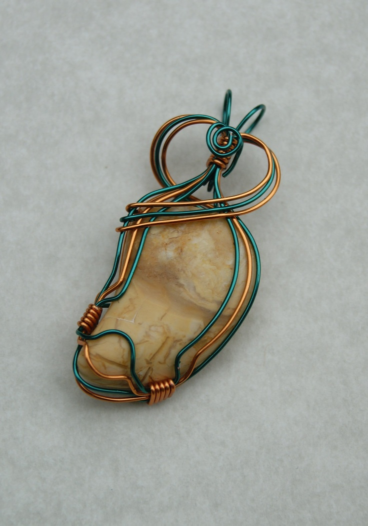 Copper Wire Jewelry | Colored Copper Wire Wrapped Tumbled Stone Pendant-Jasper-Handmade ...