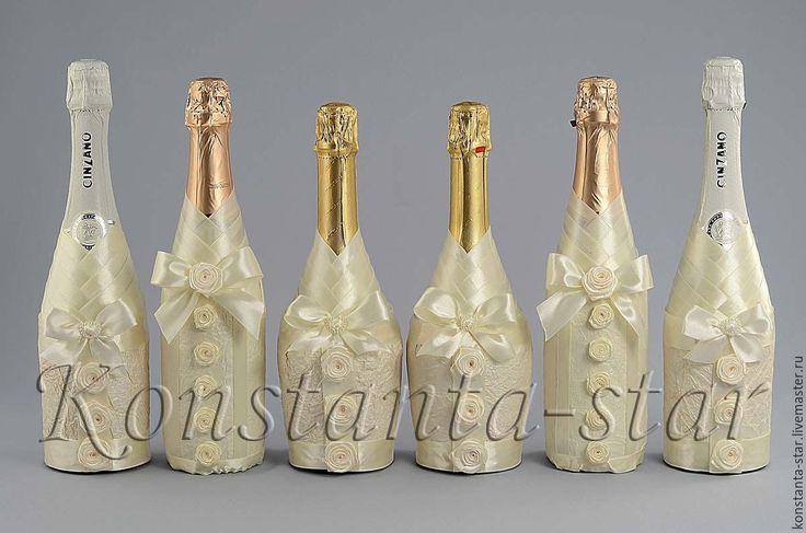 Купить Декор шампанского на свадьбу - бежевый, айвори, свадьба айвори, декор в цвете айвори