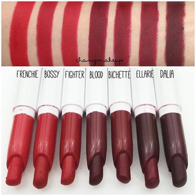 @colourpopcosmetics Reds and Darks swatches #colourpopcosmetics #lippiestix #swatch #matte • Frenchie: warm bright red - đỏ tươi, da cool lên hơi hồng, da warm lên hơi cam • Bossy: blue red - đỏ hồng, hợp cool undertones • Fighter: true red - đỏ thuần, hợp mọi tông da • Blood: deep burgundy red - đỏ nâu thẫm • Bichette: deep red wine - đỏ rượu vang • Ellarie: deep sultry cranberry -