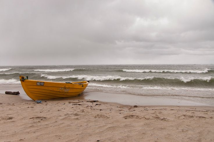 Boat on the beach, sea, yellow, waves, dramatic sky by Anovva on Etsy