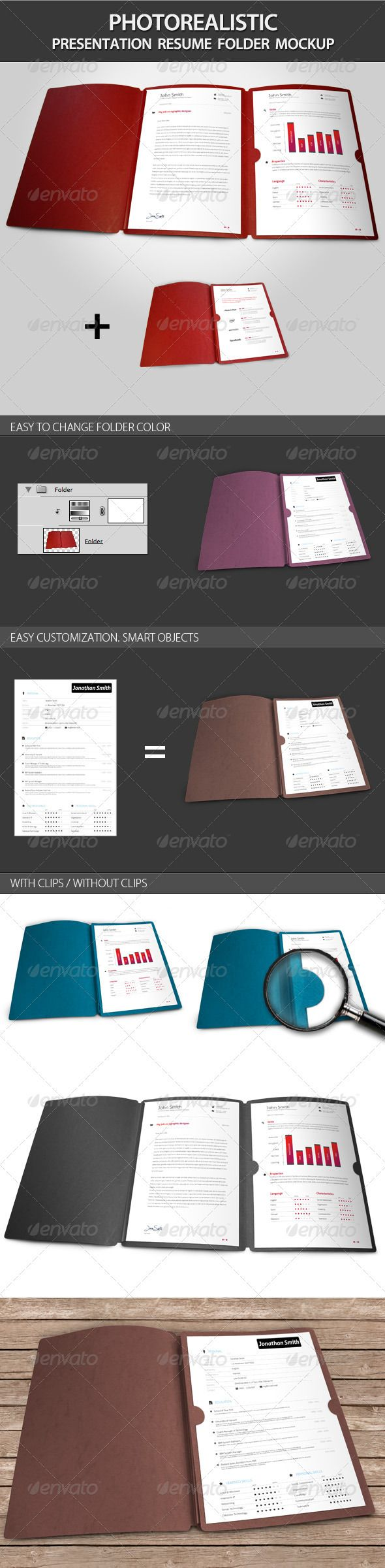 Photorealistic Presentation Resume Folder Mockup  Resume Presentation Folder
