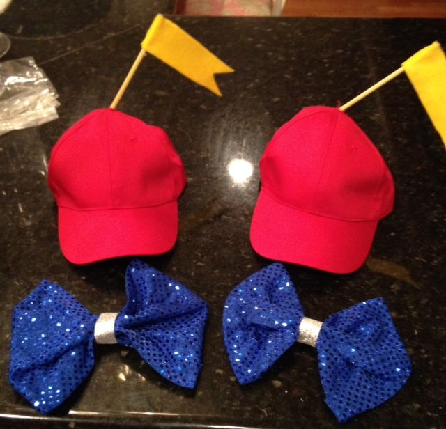 "Tweedle Dumb and Tweedle Dee hats and bow ties for ""tutu"" Halloween costumes courtesy of Casey Wilkerson j divine events jdivineevents  for ""tutu"" Halloween costume by J Divine Events Alice in Wonderland group costumes"