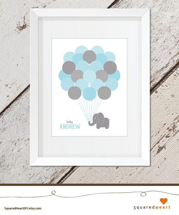 Option 1. Elephant Baby Shower Guest Book Blue Elephant by ...