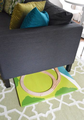 How to make a train board, instead of a table - then it will just slide under furniture when not in use | Young House Love