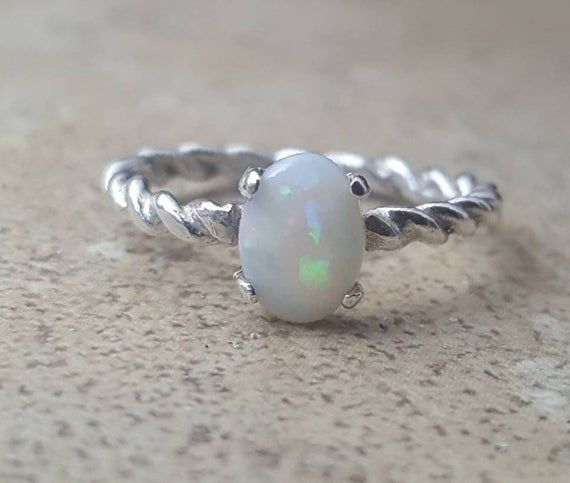 Opal Ring Genuine Australian Opal Ring October Birthstone In Sterling Silver Or Gold Opal Rings Natural Emerald Rings