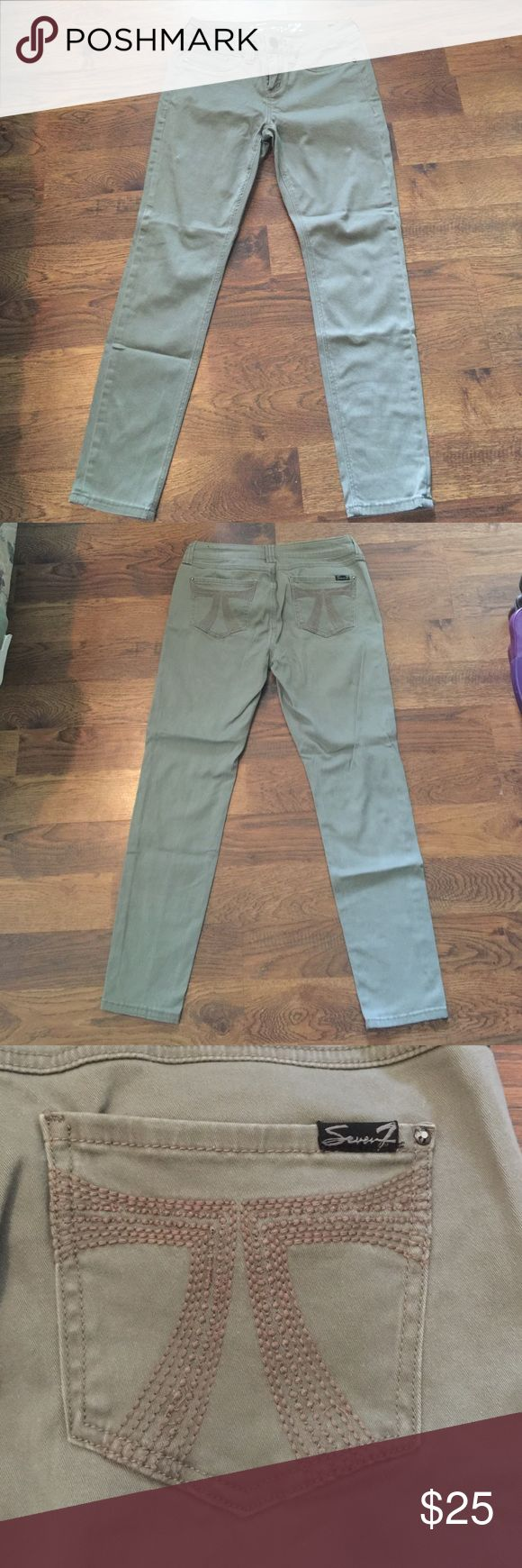 Seven7 tan skinny jeans Seven7 tan/khaki skinny jean. Fabric is somewhat stretchy. Worn 2-3 times. Great condition! Seven7 Jeans Skinny