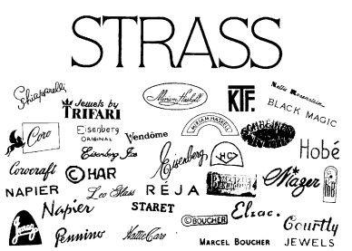 Vintage costume jewelry manufacturers' hallmarks, e.g., 'Trifari', 'Weiss', 'Boucher', etc.