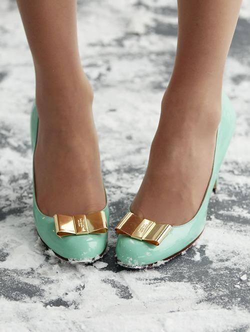 Mint green heels with gold bows BEST