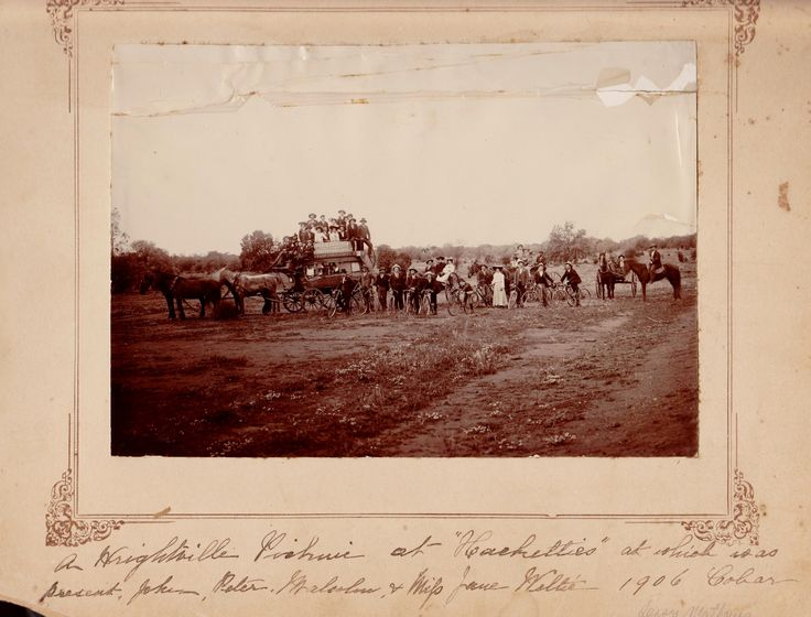 """A Wrightville ( NSW) picnic at """"Hackelties"""" at which was present, John, Malcolm & Mifs. Jane Weltie. 1906, Cobar"""