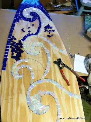Stained glass mosaic surfboard waves and whitecaps pattern | Lucy Designs