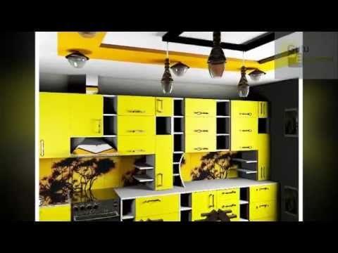 дизайн кухни с желтыми фасадами и белой столешницей, дизайн полок, дизай...