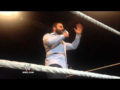 Santino Marella makes a career-related announcement at a WWE Live Event - http://www.wrestlesite.com/wwe/santino-marella-makes-career-related-announcement-wwe-live-event/