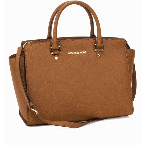 Michael Michael Kors Selma Large Satchel ($445) ❤ liked on Polyvore featuring bags, handbags, luggage, accessories, womens-fashion, michael michael kors handbags, michael michael kors, purse satchel, saffiano leather satchel and brown satchel handbag
