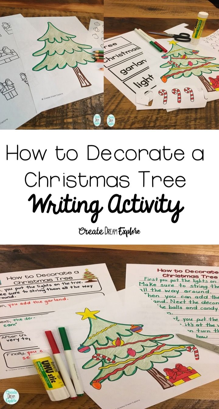 This is a great Christmas themed writing activity for procedural writing. How to decorate a Christmas tree: students can cut out the parts of the tree to decorate it. This is great for an ELA writing center or whole class Christmas writing activity. Also great to use for big buddy and little buddy activities in the classroom. First, second and third grade students will love this Xmas writing activity.